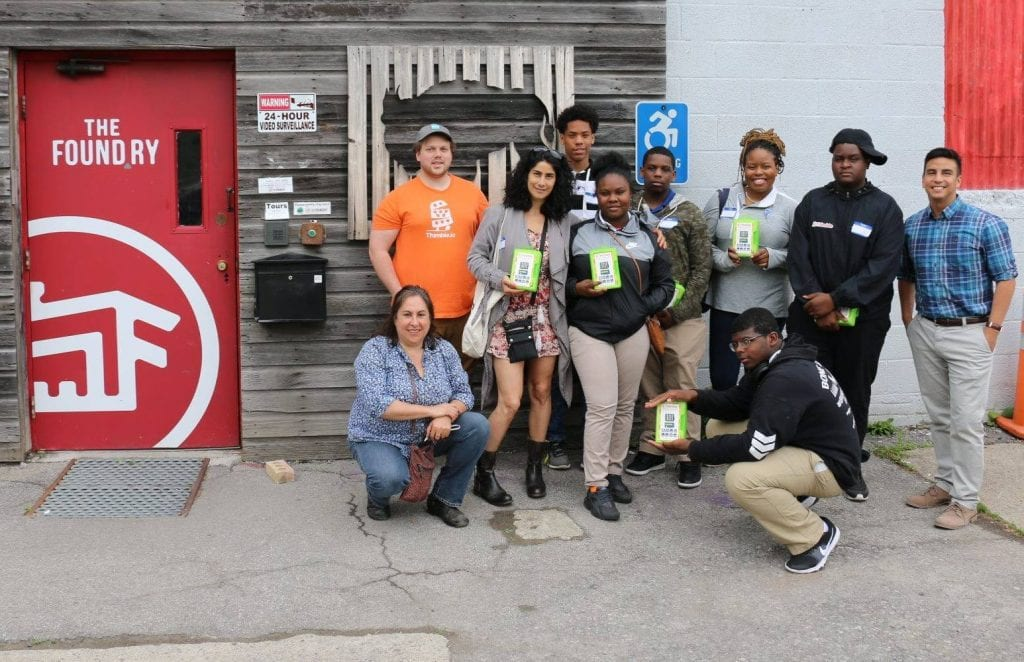 Posing for a picture after our lesson at the Foundry Makerspace