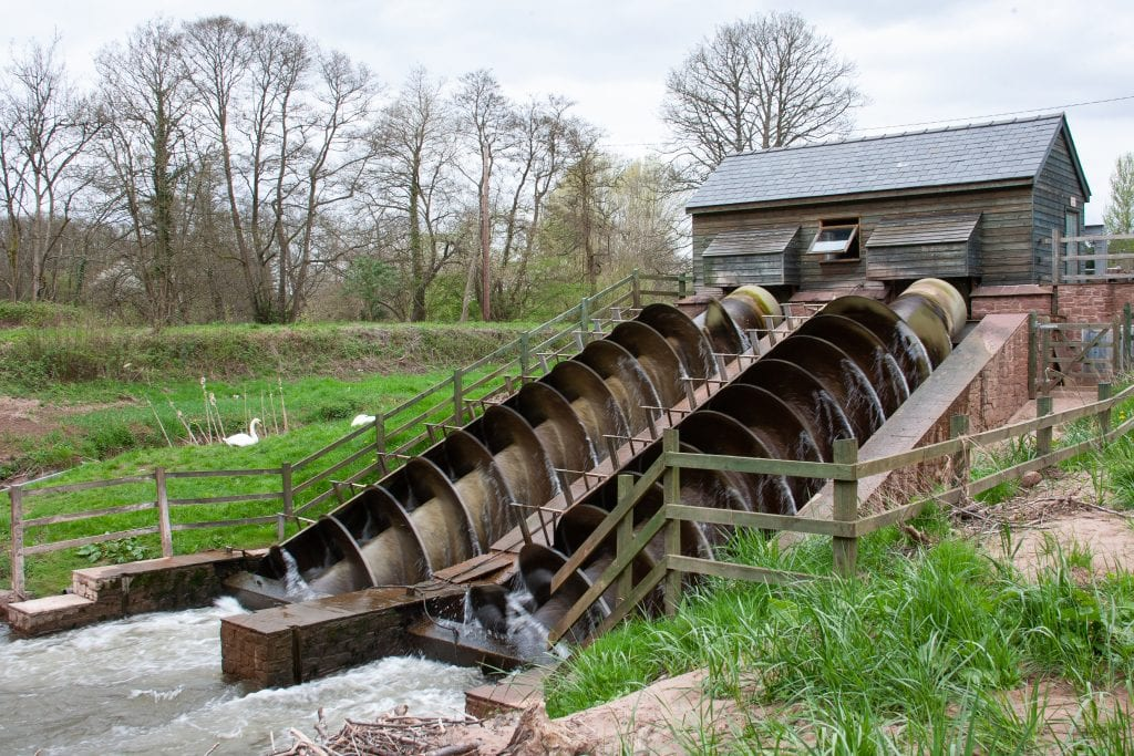 Archimedes' screw at a water plant