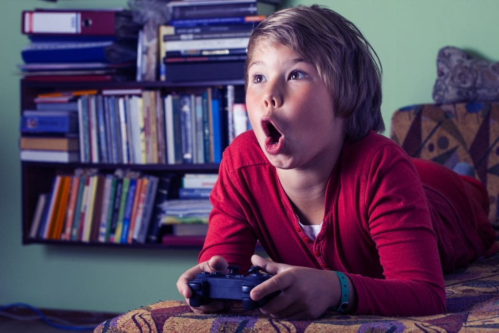 kid addicted to video game