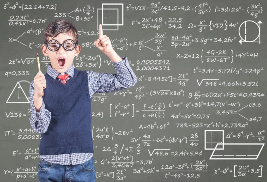 nerdy book making a funny face in front of chalk board with equation
