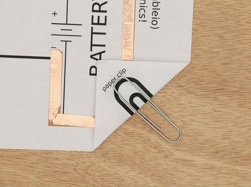 paper clip secures battery in LED circuit