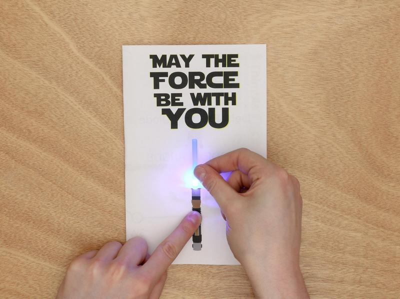 glowing light saber LED paper circuit
