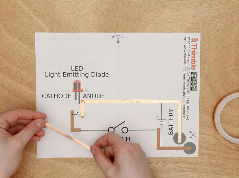 lightsaber LED circuit on paper